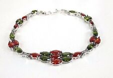 "Red Garnet Peridot ladies bracelet 5x8 mm, Marquise cut Silver 6.75"" B*0296"