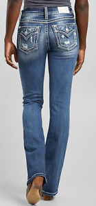NEW MISS ME K1124 MID RISE BOOT BOOTCUT EMBROIDERED BACK POCKET JEANS 30 BUCKLE