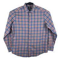 Viyella Heritage Orange Blue Plaid Cotton Wool Long Sleeve Button Shirt Large