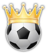 Soccer Ball Golden Crown Car Bumper Sticker Decal 4'' x 5''