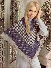 Vintage Poncho Crochet Pattern DK one size 1970s Retro Festival Hippy