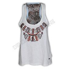 ladies Brave Soul t shirt womens muscle pearl sequin print tank top chiffon vest