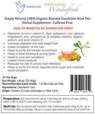 Simply Natural 100% Organic Roasted Dandelion Root Herbal Tea 30 Bags