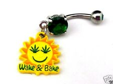 Wake and Bake Belly Ring Sun Pot Leaf Navel Bar 420 Weed Marijuana Steel New