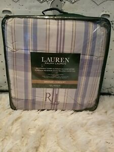 New Ralph Lauren twin Reversible Comforter Bronze Comfort Sundeck Blue Plaid!!