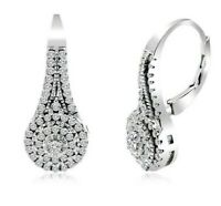 Diamonique 18K White Gold Filled Round/Pave' 2.50cttw Leverback Earrings