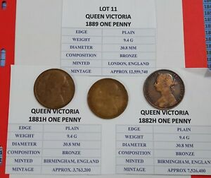 3 x Victoria Penny's 1881H.1882H and 1889