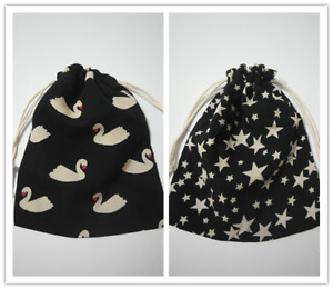 Cotton Drawstring Small Thin Bag Storage Travel Packaging Pouch Purse-Swan Star