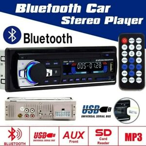 1 Din Autoradio Mit Bluetooth RADIO USB FM Aux MP3-Player +FERNBEDIENUNG +Rahmen