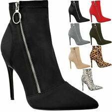 Womens Ladies Black High Heel Stilettos Ankle Boots Smart Sexy Zip Up Shoes Size