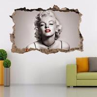 Marilyn Monroe Red Lips 3D Window View Decal WALL STICKER Decor Art Mural H81