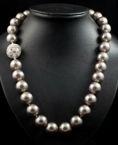 each knot 12 mm southsea Champagne shell pearl necklace 20 inch