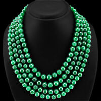 463.00 CTS EARTH MINED RICH GREEN EMERALD OVAL SHAPED BEADS NECKLACE STRAND