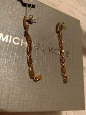 $195 Michael Kors Gold Pated Sterling Silver Mercer Link Earring MKC1012 M1