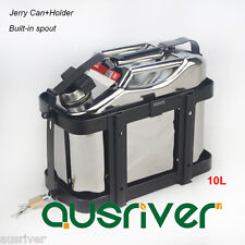 10L Stainless Steel Jerry Can+Holder Built-in Spout for 4WD/Car/Motorcycle Fuel