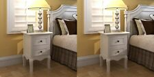 White French Bedside Table 2pcs Shabby Chic 2 Drawers Vintage Antique Style Pair