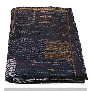 King Size Black Silk Patchwork Kantha Quilt Hippie Bedding Bedspread Blanket