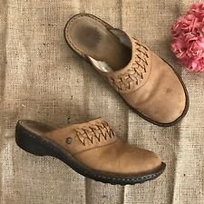 UGG Australia Rare Womens Slippers Size 7W Brown Woven Leather Clogs Slip On Fur
