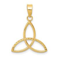 14K Yellow Gold Celtic Trinity Symbol Pendant 24x18mm  0.59gr