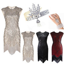 1920's Flapper Dress Great Gatsby Sequin Beads Fringe Evening Long Prom Dresses