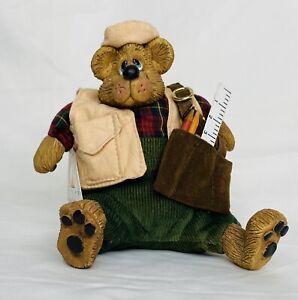 "Carpenter Bear Resin Beanbag Plush by Russ, Approx 5.5"" tall when Sitting"