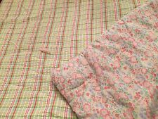 Twin Pastel Madras Plaid Reversible Floral Comforter Bed Cover Pink Green Yellow