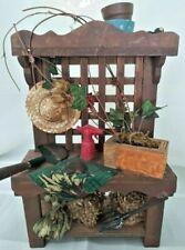 Wooden Garden Potting Bench Work Station Table 3D figurine sculpture Handmade 11