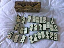 interesting old dominoes domino set in old box tin