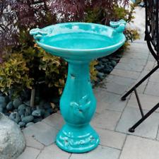 """24"""" Antiqued Ceramic Pedestal Bird Bath Pool Fountain Bowl Outdoor Garden Patio"""