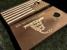Stained American Flag and Dont Tread on Me Cornhole Board Set