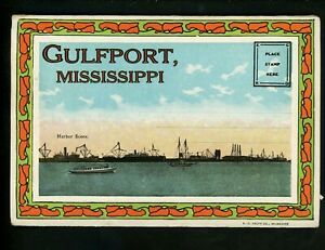 Postcard Folder Mississippi MS Gulfport Harbor Great Southern Hotel Country Club