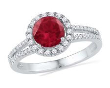 10k White Gold Womens Lab Ruby Solitaire Diamond Halo Ring 1-5/8 Cttw