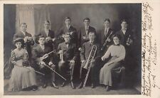 Real Photo Postcard Music Brass and String Band in Photo Studio~128418