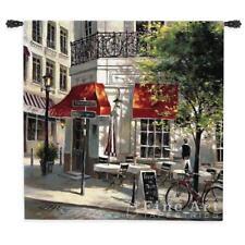 """Corner Cafe I Parisian Street Scene Picture Tapestry 53""""x53"""""""