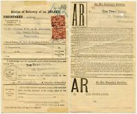 GB ADVICE of DELIVERY AR WIMBLEDON REGISTERED OVAL BW PERFINS AVIS RECEIPT 1925