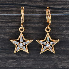 Fashion Women Gold Plated Clear Cubic Zirconia CZ Stars Dangle Earrings Jewelry