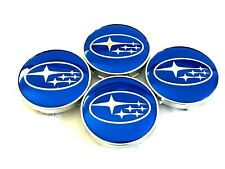 "4 pcs, Subaru, Wheel Center Cap, Blue Chrome Logo 60 MM / 2.36"" Impreza Legacy"