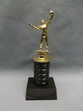 Volleyball trophy male turned wood column die cast topper black marble
