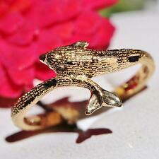 diamond cut dolphin toe ring 0.9gr Vintage handmade 10k yellow gold adjustable