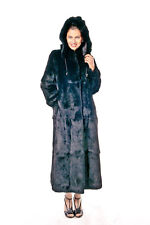Black Real Fur Coat Long Womens Rabbit Fur - Detachable Hood