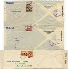 KUT anni'40 WW2 censurata 3 BUSTE posta aerea + superficie di Denver Colorado