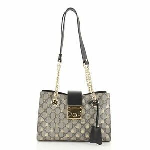 Gucci Padlock Chain Tote Printed GG Coated Canvas Small