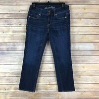 American Eagle Womens Jeans Cotton Stretch Artist Crop Dark Wash Low Rise Size 2