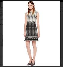 7e17252efe24 Tory Burch Savora Tweed Shift Tunic Dress Black White w  Fringe Size 8