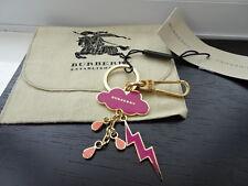 100% Autentico Burberry rosa, oro Cloud/Meteo Pioggia Bag Charm, Portachiavi