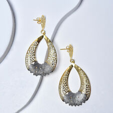 Women with Silver Enamel, Fashion Jewelry Yellow Gold Filled Dangle Earrings for