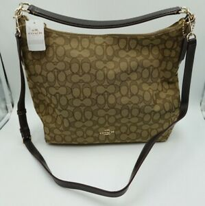 NEW COACH Outline Signature Celeste Hobo Shoulder Crossbody Bag Purse - Brown