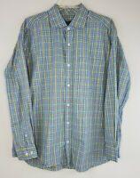 TURTLESON Mens Blue Plaid Long Sleeve Button Up Dress Shirt Size L Large