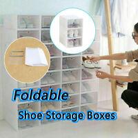 3PCS Foldable Shoe Storage Boxes Shoe Organizer Transparent Plastic Convenience