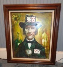 Large Print Picture, Wood Frame, GAMBLER, Cards, Nude, Artist Hungarian, Laszlo